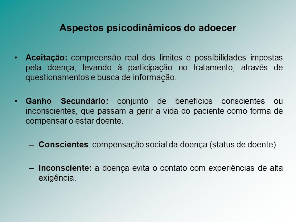 Aspectos psicodinâmicos do adoecer Aceitação: compreensão real dos limites e possibilidades impostas pela doença, levando à participação no tratamento