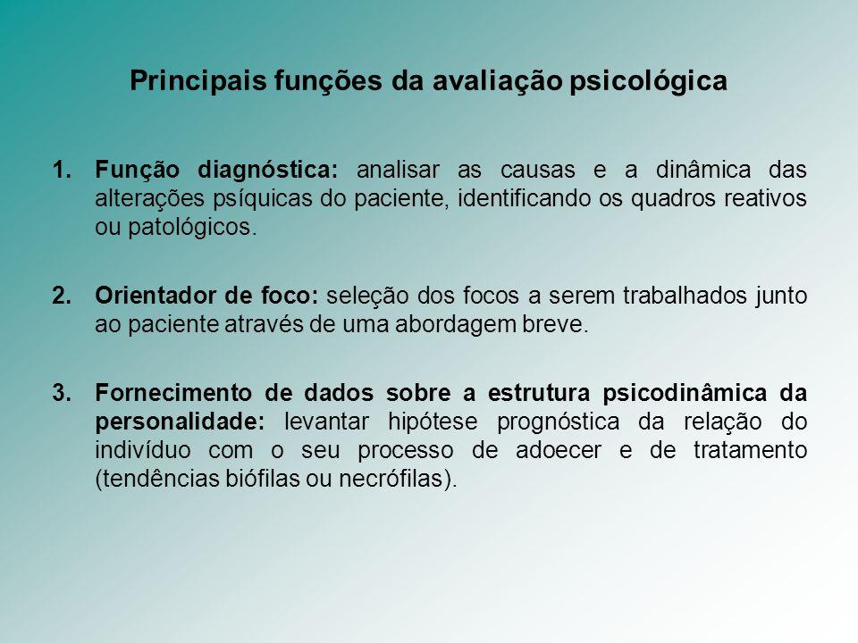 Principais funções da avaliação psicológica 1.Função diagnóstica: analisar as causas e a dinâmica das alterações psíquicas do paciente, identificando