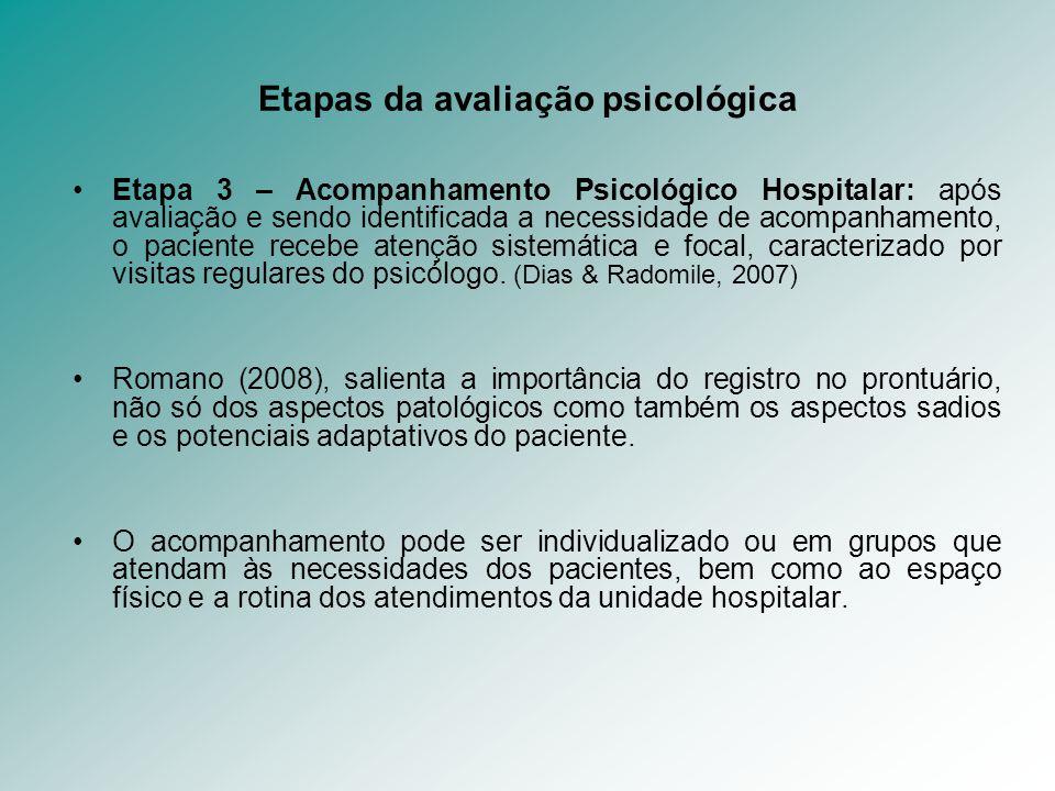 Etapas da avaliação psicológica Etapa 3 – Acompanhamento Psicológico Hospitalar: após avaliação e sendo identificada a necessidade de acompanhamento,