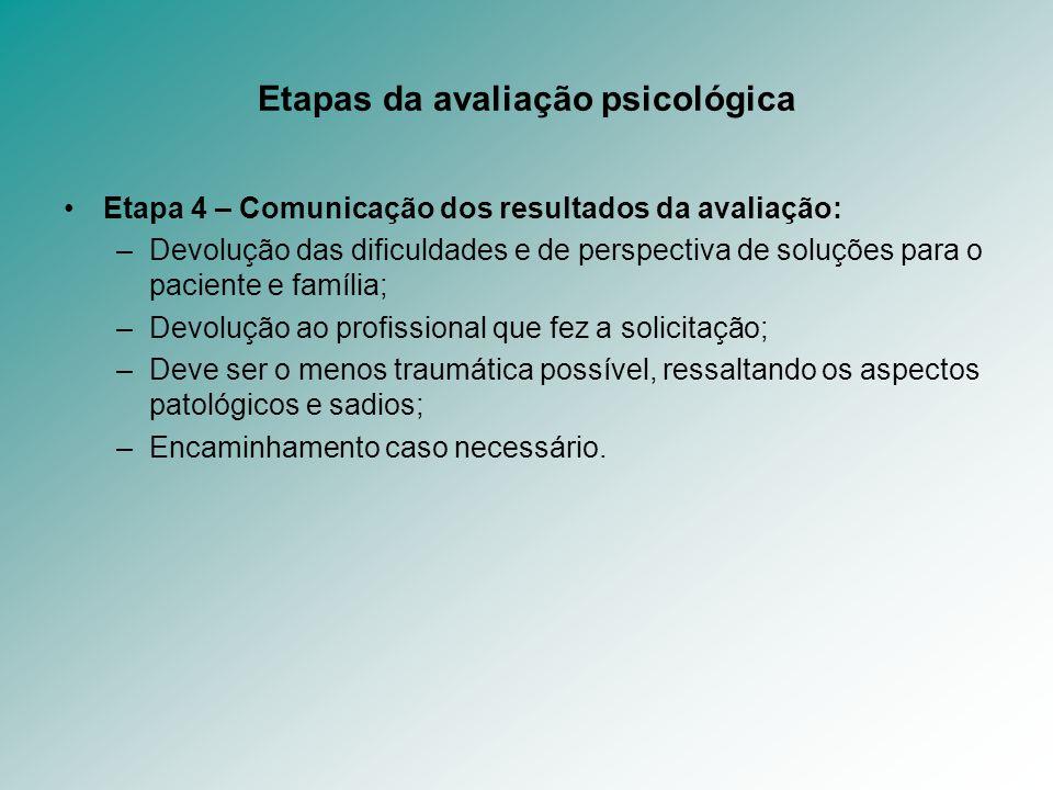 Etapas da avaliação psicológica Etapa 4 – Comunicação dos resultados da avaliação: –Devolução das dificuldades e de perspectiva de soluções para o pac