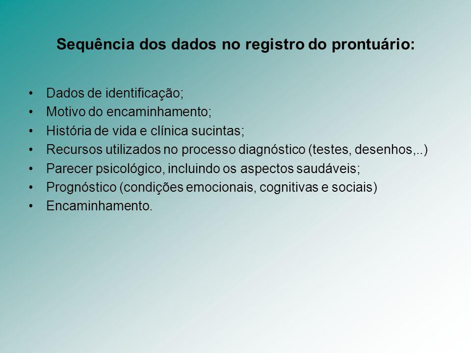 Sequência dos dados no registro do prontuário: Dados de identificação; Motivo do encaminhamento; História de vida e clínica sucintas; Recursos utiliza