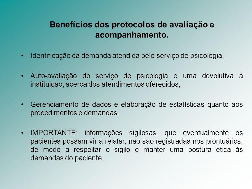 Benefícios dos protocolos de avaliação e acompanhamento. Identificação da demanda atendida pelo serviço de psicologia; Auto-avaliação do serviço de ps