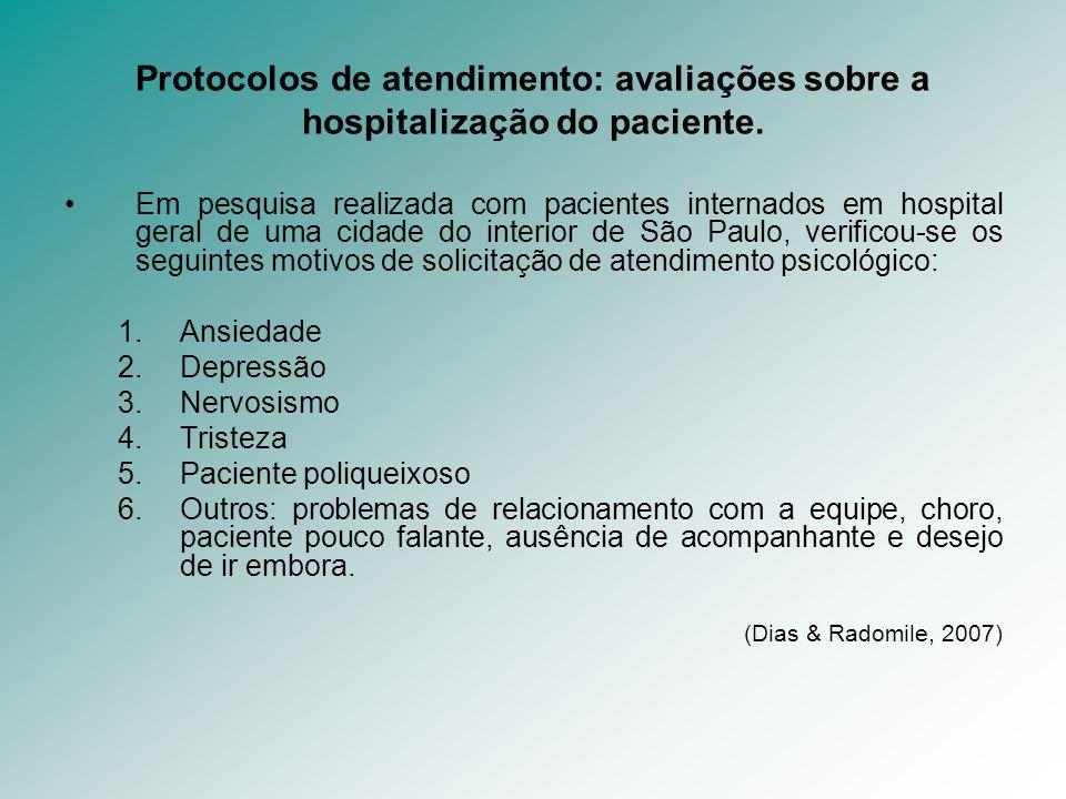 Protocolos de atendimento: avaliações sobre a hospitalização do paciente. Em pesquisa realizada com pacientes internados em hospital geral de uma cida