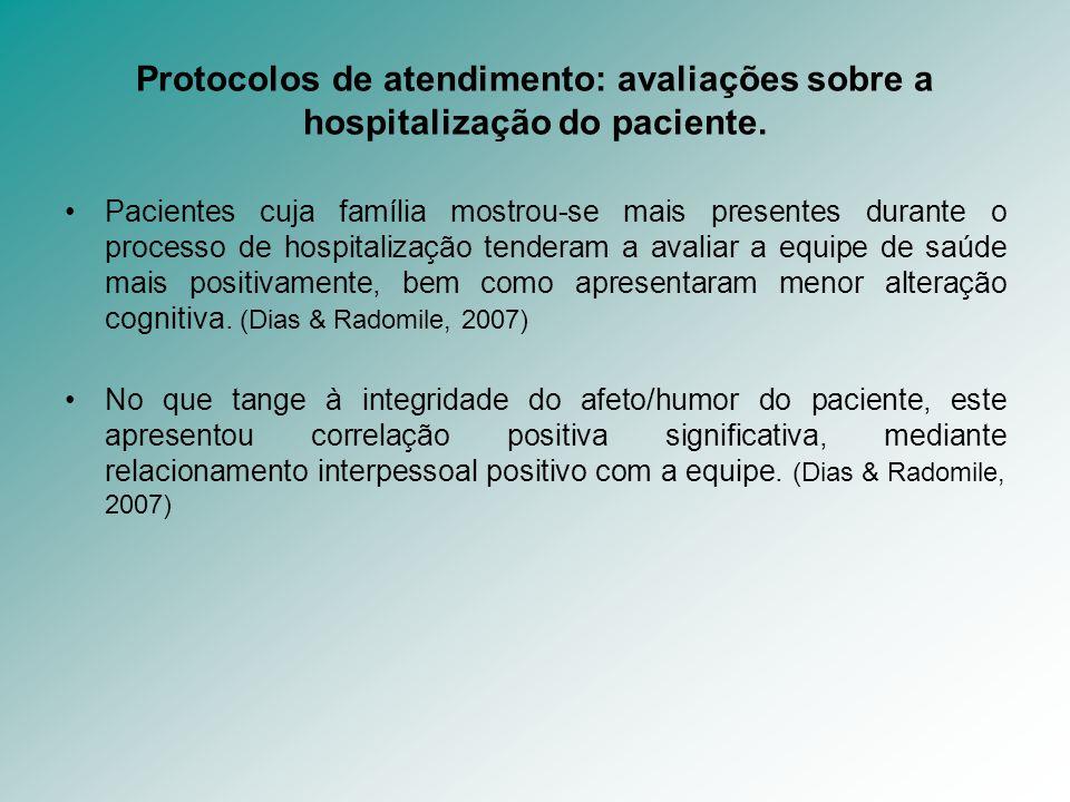 Protocolos de atendimento: avaliações sobre a hospitalização do paciente. Pacientes cuja família mostrou-se mais presentes durante o processo de hospi