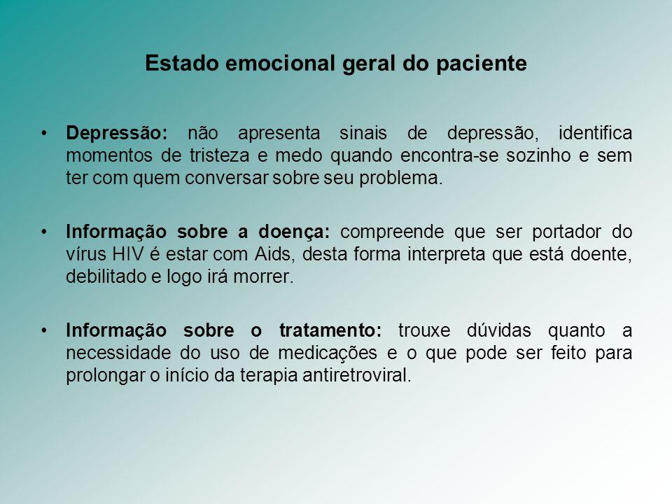 Estado emocional geral do paciente Depressão: não apresenta sinais de depressão, identifica momentos de tristeza e medo quando encontra-se sozinho e s