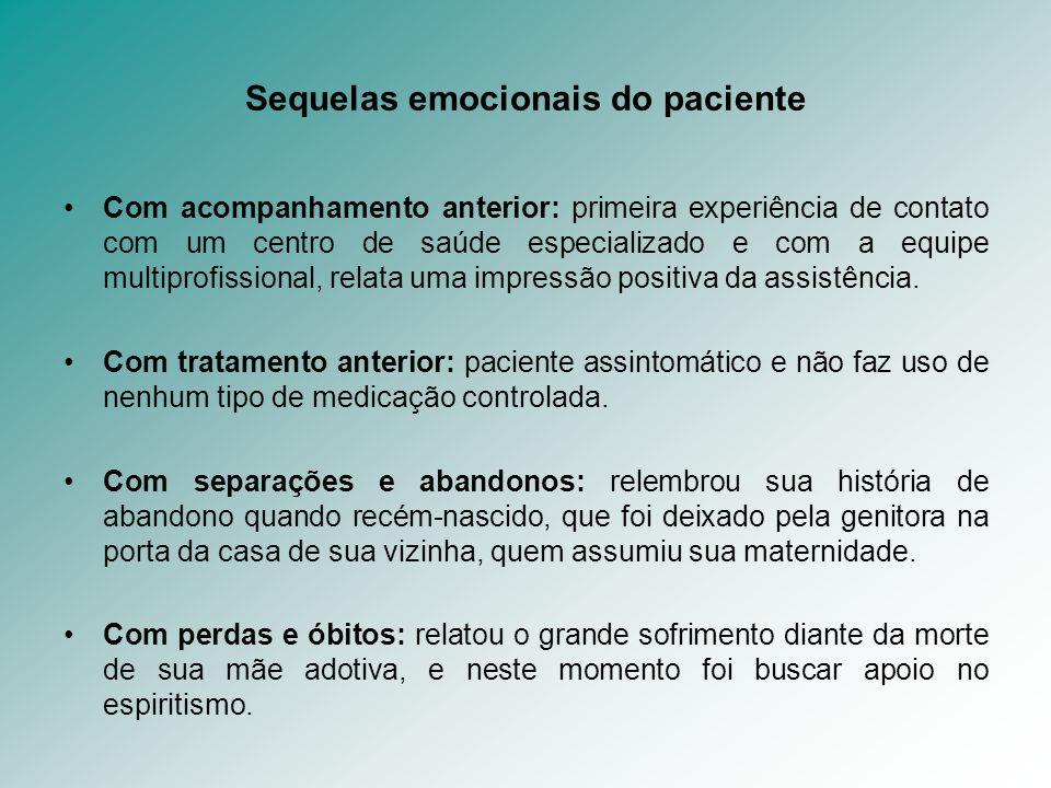 Sequelas emocionais do paciente Com acompanhamento anterior: primeira experiência de contato com um centro de saúde especializado e com a equipe multi