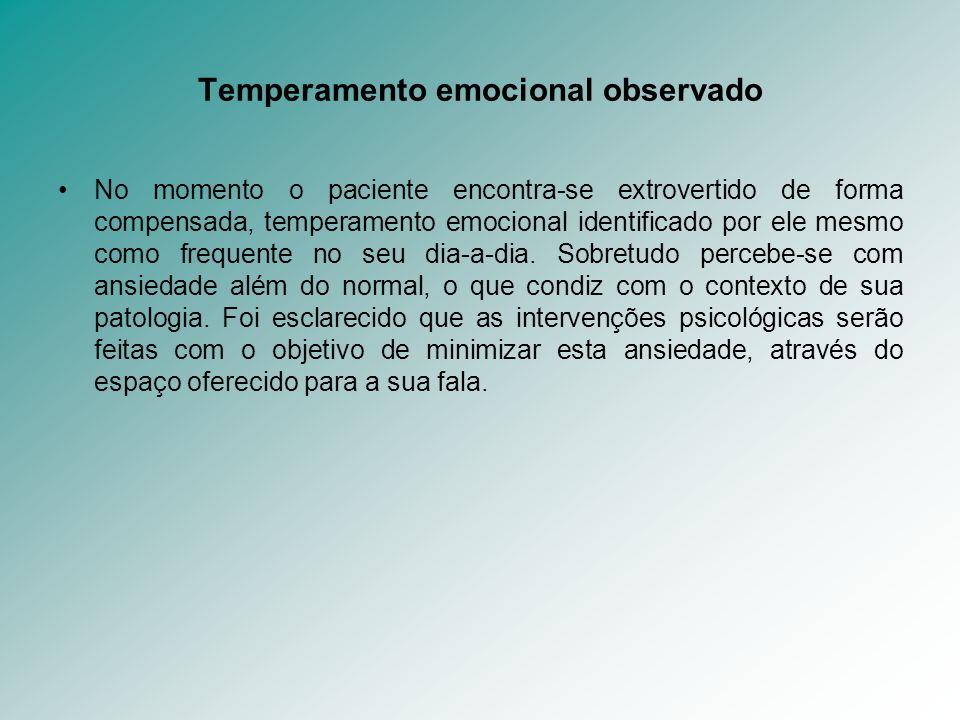 Temperamento emocional observado No momento o paciente encontra-se extrovertido de forma compensada, temperamento emocional identificado por ele mesmo