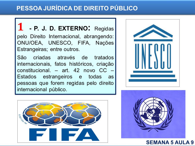 1 - P. J. D. EXTERNO : Regidas pelo Direito Internacional, abrangendo: ONU/OEA, UNESCO, FIFA, Nações Estrangeiras; entre outros. São criadas através d
