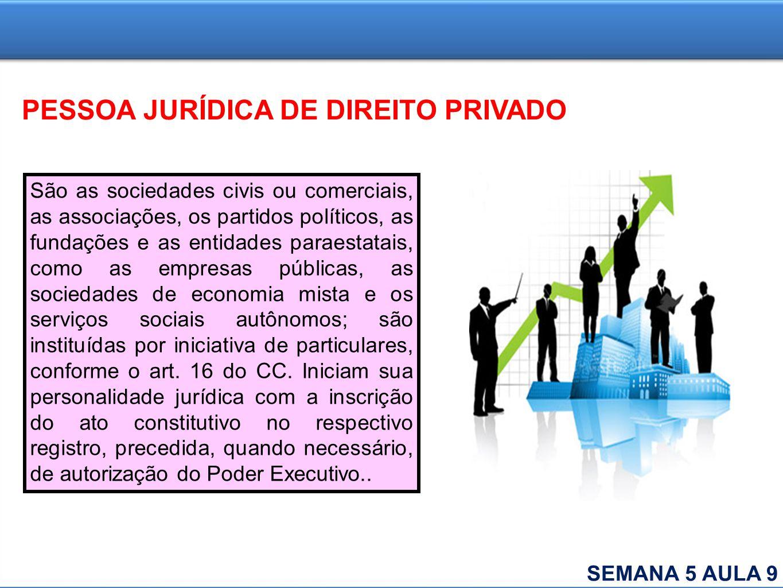 PESSOA JURÍDICA DE DIREITO PRIVADO São as sociedades civis ou comerciais, as associações, os partidos políticos, as fundações e as entidades paraestat