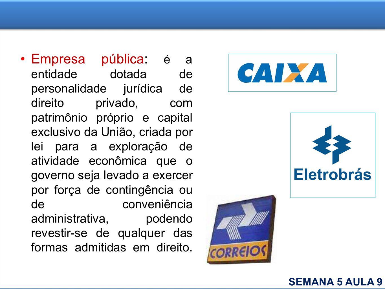 Empresa pública: é a entidade dotada de personalidade jurídica de direito privado, com patrimônio próprio e capital exclusivo da União, criada por lei