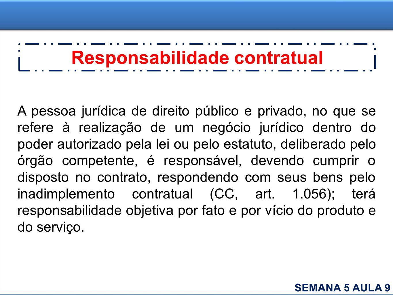Responsabilidade contratual A pessoa jurídica de direito público e privado, no que se refere à realização de um negócio jurídico dentro do poder autor