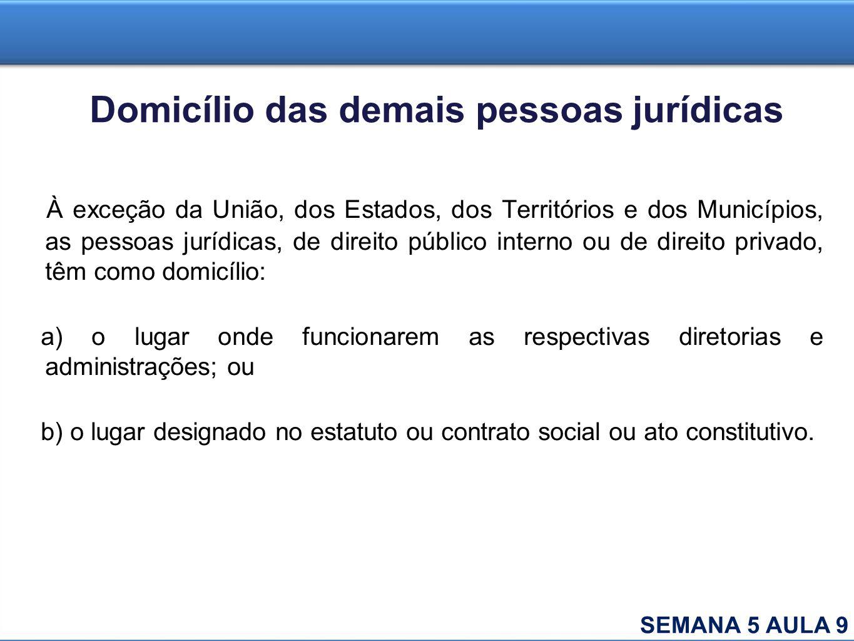 Domicílio das demais pessoas jurídicas À exceção da União, dos Estados, dos Territórios e dos Municípios, as pessoas jurídicas, de direito público int