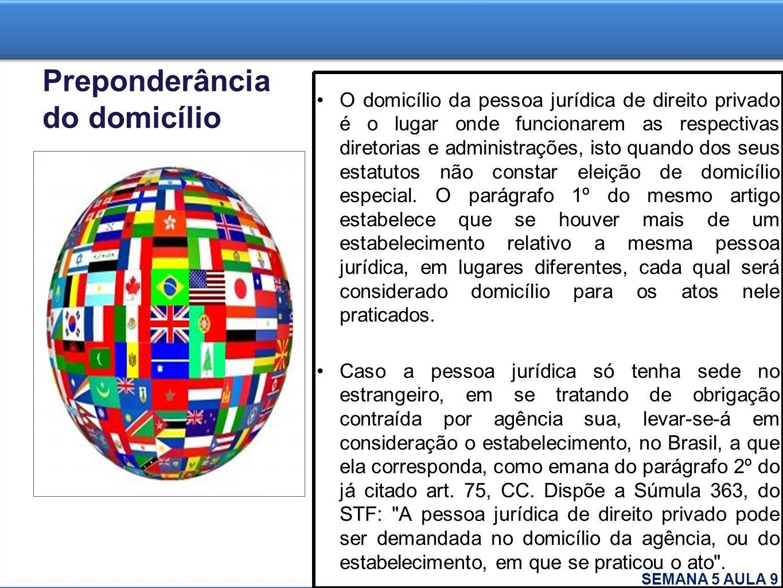 Preponderância do domicílio O domicílio da pessoa jurídica de direito privado é o lugar onde funcionarem as respectivas diretorias e administrações, i