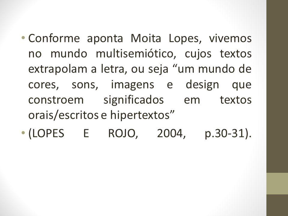 Conforme aponta Moita Lopes, vivemos no mundo multisemiótico, cujos textos extrapolam a letra, ou seja um mundo de cores, sons, imagens e design que c