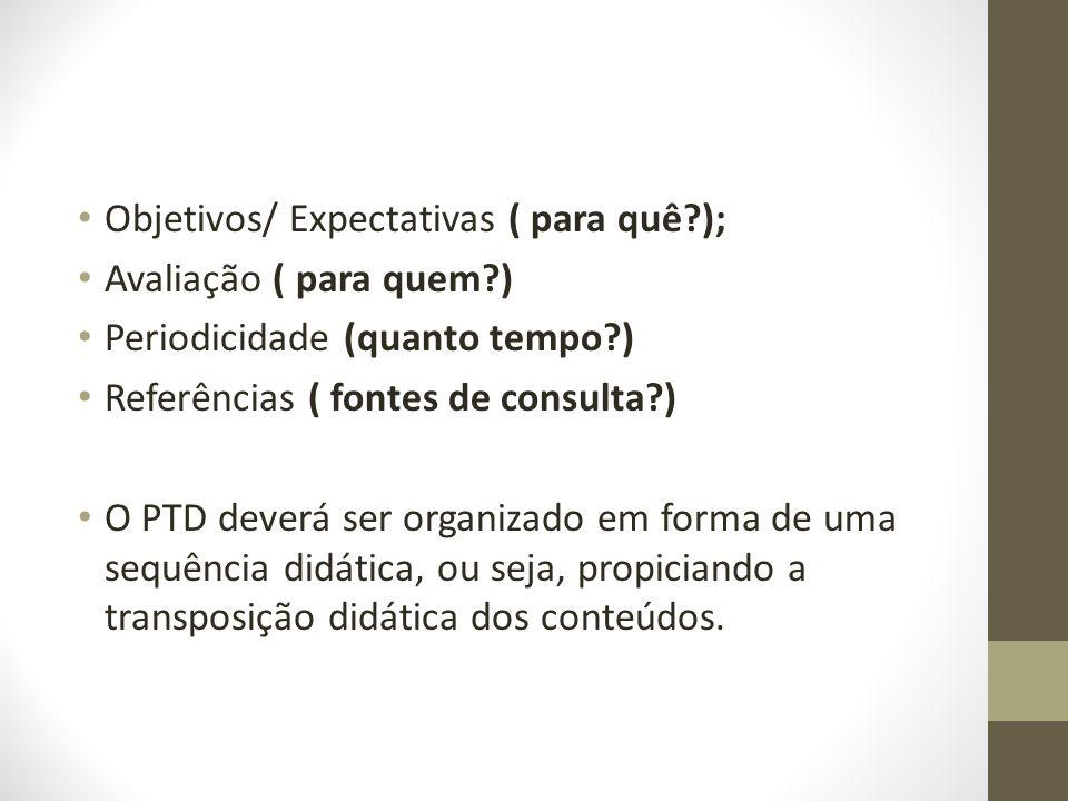 Objetivos/ Expectativas ( para quê?); Avaliação ( para quem?) Periodicidade (quanto tempo?) Referências ( fontes de consulta?) O PTD deverá ser organi