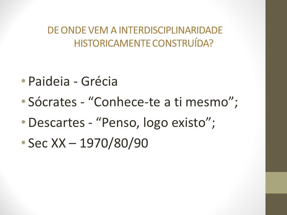 DE ONDE VEM A INTERDISCIPLINARIDADE HISTORICAMENTE CONSTRUÍDA? Paideia - Grécia Sócrates - Conhece-te a ti mesmo; Descartes - Penso, logo existo; Sec