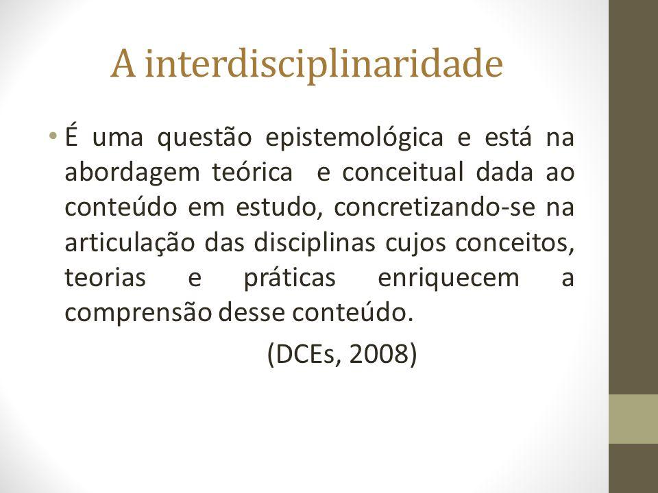 A interdisciplinaridade É uma questão epistemológica e está na abordagem teórica e conceitual dada ao conteúdo em estudo, concretizando-se na articula