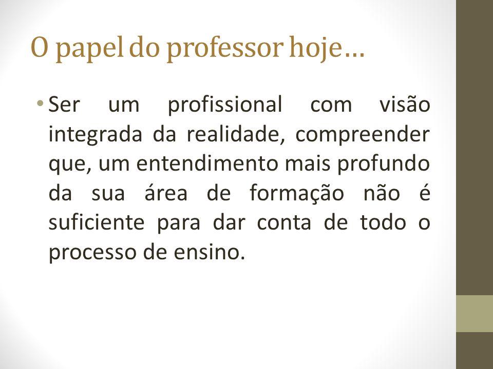 O papel do professor hoje… Ser um profissional com visão integrada da realidade, compreender que, um entendimento mais profundo da sua área de formaçã