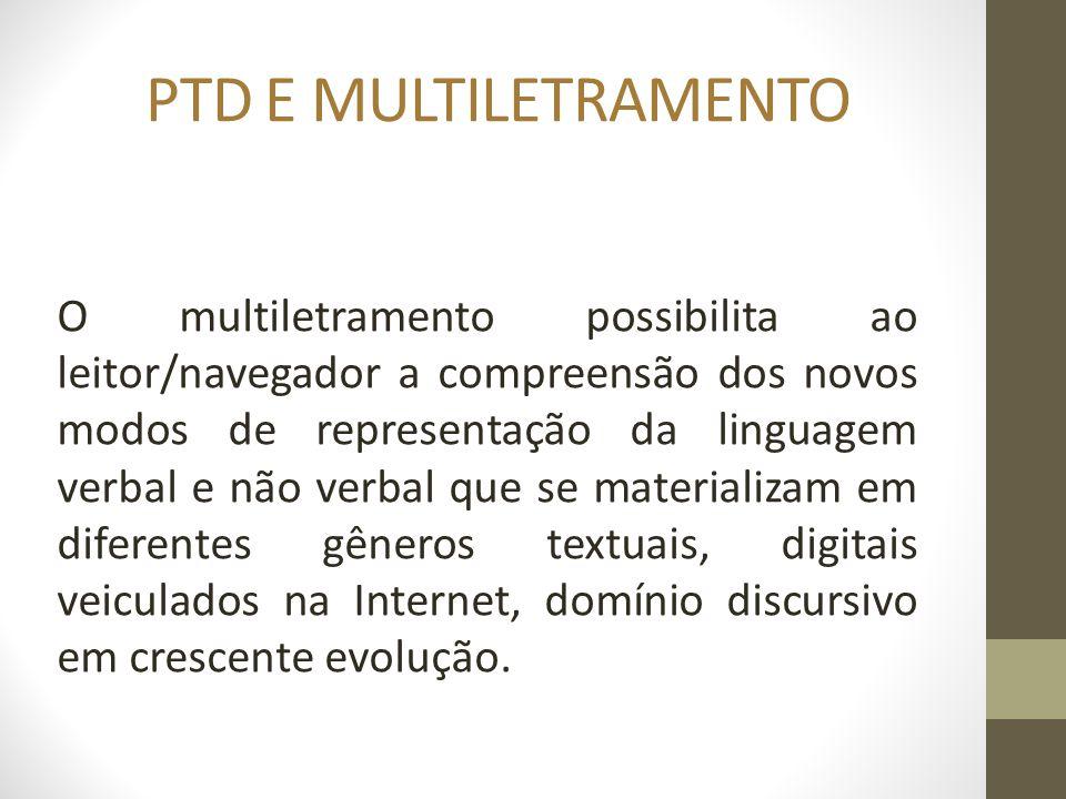 PTD E MULTILETRAMENTO O multiletramento possibilita ao leitor/navegador a compreensão dos novos modos de representação da linguagem verbal e não verba