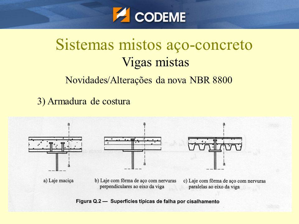 Sistemas mistos aço-concreto Vigas mistas Novidades/Alterações da nova NBR 8800 3) Armadura de costura