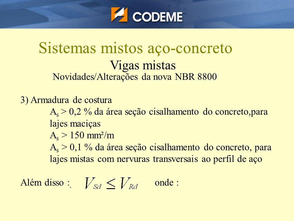 Sistemas mistos aço-concreto Vigas mistas Novidades/Alterações da nova NBR 8800 3) Armadura de costura A s > 0,2 % da área seção cisalhamento do concr
