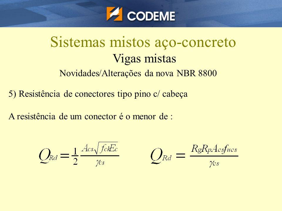 Novidades/Alterações da nova NBR 8800 5) Resistência de conectores tipo pino c/ cabeça A resistência de um conector é o menor de : Sistemas mistos aço