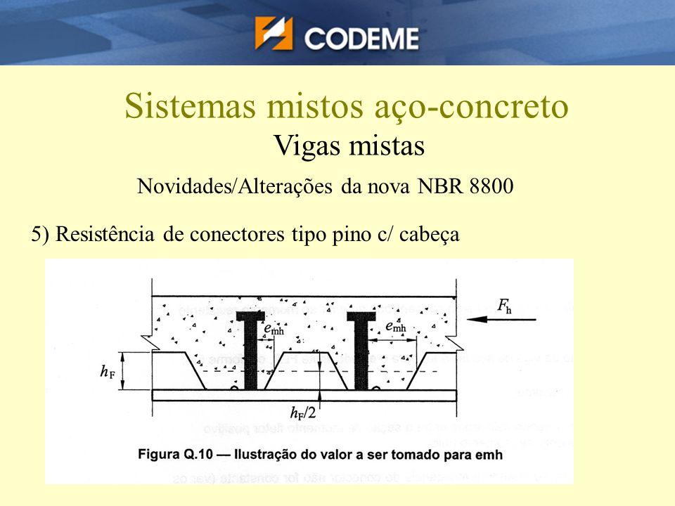 Sistemas mistos aço-concreto Vigas mistas Novidades/Alterações da nova NBR 8800 5) Resistência de conectores tipo pino c/ cabeça