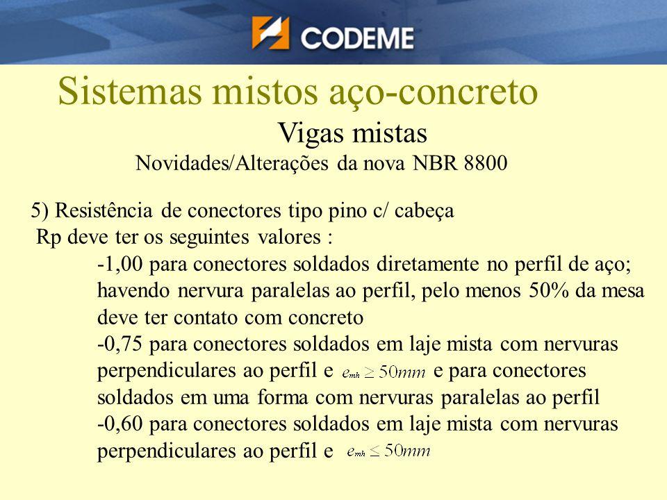 Sistemas mistos aço-concreto Vigas mistas Novidades/Alterações da nova NBR 8800 5) Resistência de conectores tipo pino c/ cabeça Rp deve ter os seguin