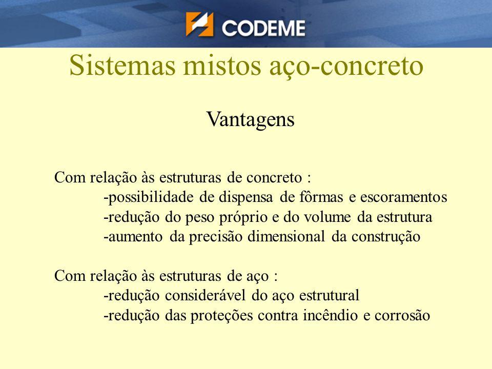 Vantagens Com relação às estruturas de concreto : -possibilidade de dispensa de fôrmas e escoramentos -redução do peso próprio e do volume da estrutur