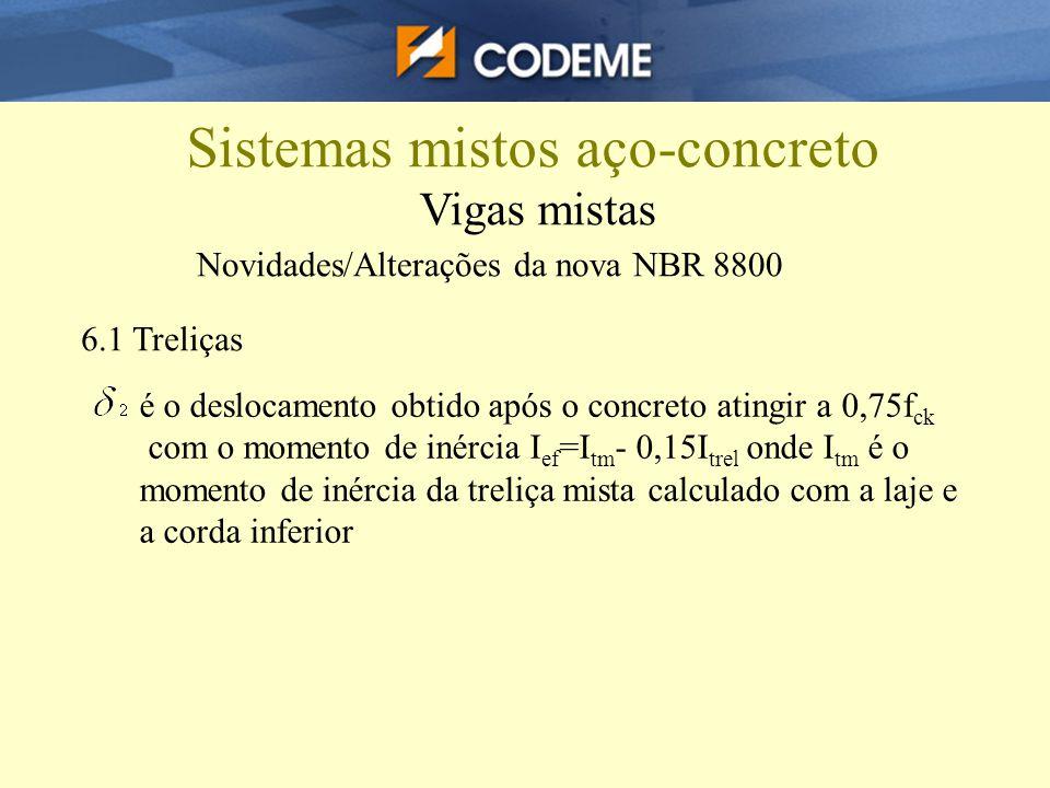 Sistemas mistos aço-concreto Vigas mistas Novidades/Alterações da nova NBR 8800 6.1 Treliças é o deslocamento obtido após o concreto atingir a 0,75f c