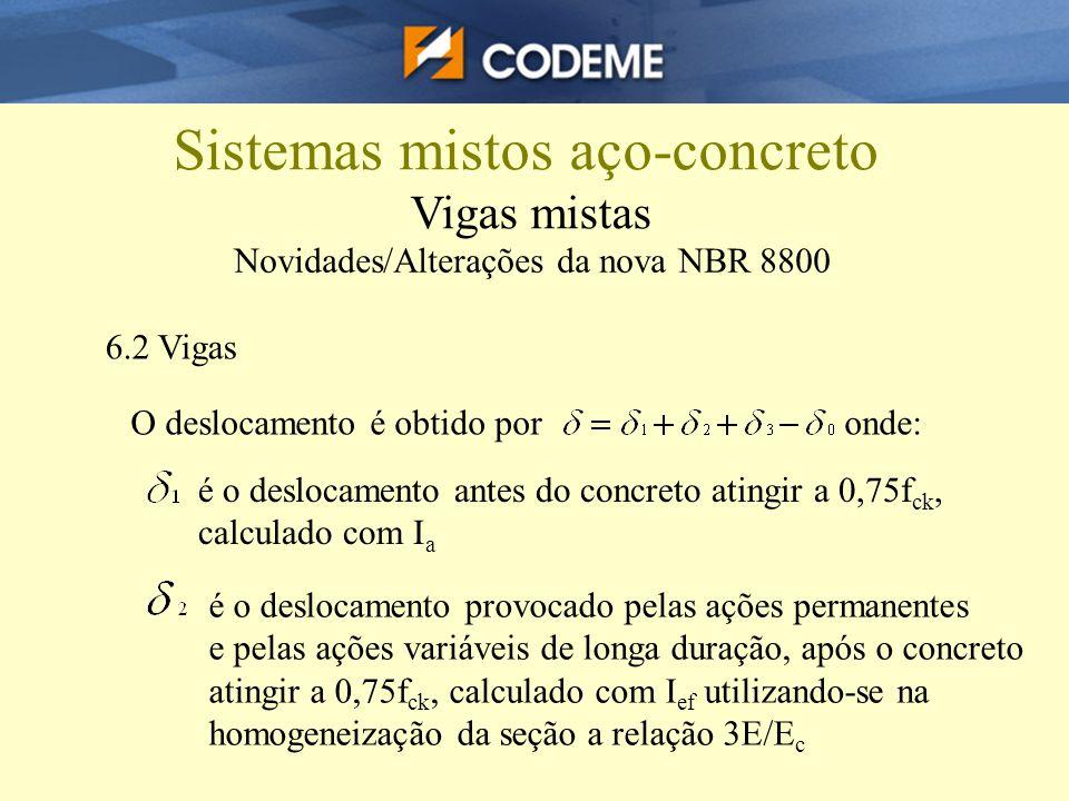 Sistemas mistos aço-concreto Vigas mistas Novidades/Alterações da nova NBR 8800 6.2 Vigas O deslocamento é obtido por onde: é o deslocamento antes do
