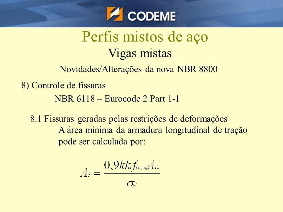 Perfis mistos de aço Vigas mistas Novidades/Alterações da nova NBR 8800 8) Controle de fissuras NBR 6118 – Eurocode 2 Part 1-1 8.1 Fissuras geradas pe