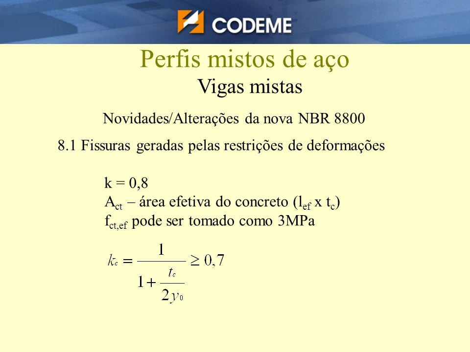 Perfis mistos de aço Vigas mistas Novidades/Alterações da nova NBR 8800 8.1 Fissuras geradas pelas restrições de deformações k = 0,8 A ct – área efeti