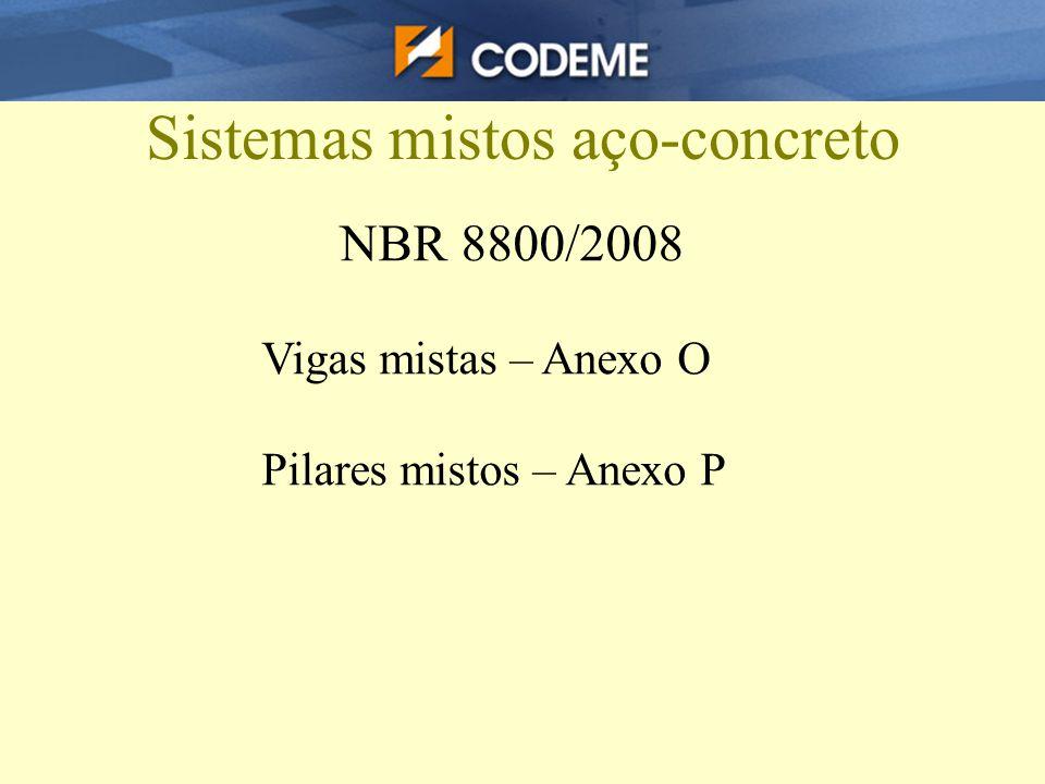 Sistemas mistos aço-concreto NBR 8800/2008 Vigas mistas – Anexo O Pilares mistos – Anexo P