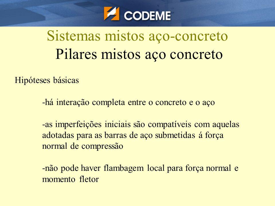Sistemas mistos aço-concreto Pilares mistos aço concreto Hipóteses básicas -há interação completa entre o concreto e o aço -as imperfeições iniciais s