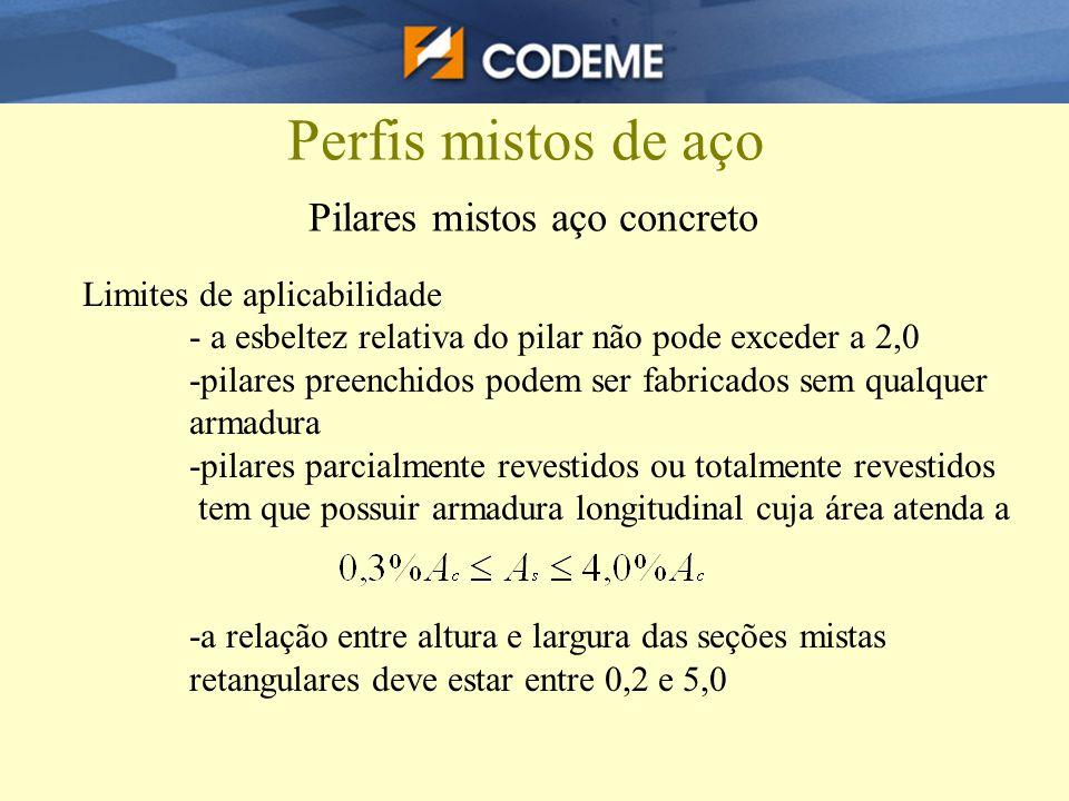 Perfis mistos de aço Pilares mistos aço concreto Limites de aplicabilidade - a esbeltez relativa do pilar não pode exceder a 2,0 -pilares preenchidos