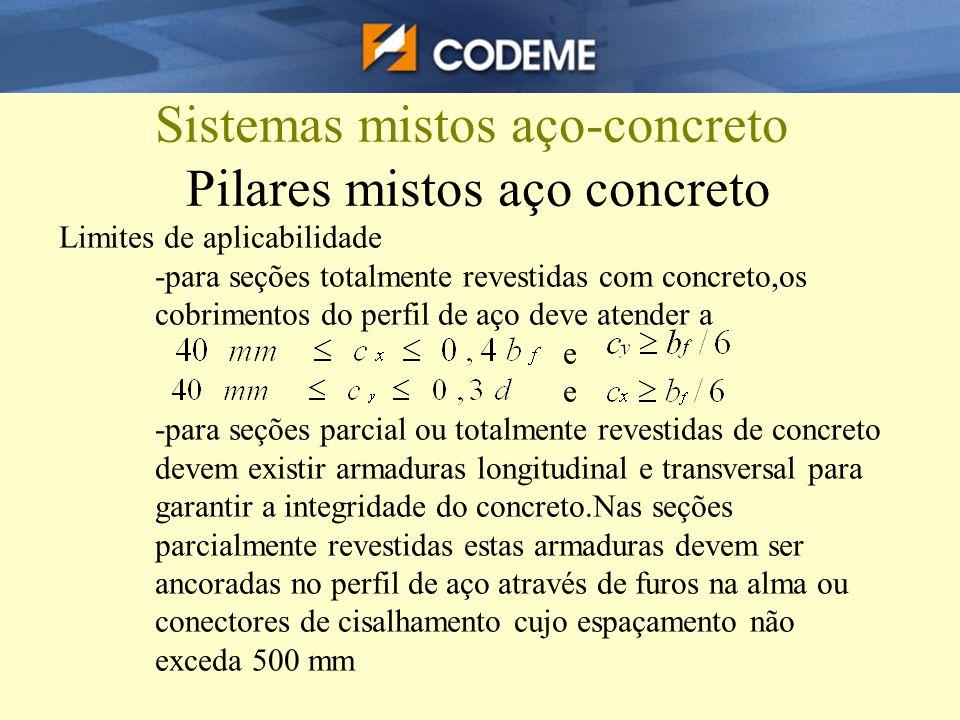 Sistemas mistos aço-concreto Pilares mistos aço concreto Limites de aplicabilidade -para seções totalmente revestidas com concreto,os cobrimentos do p