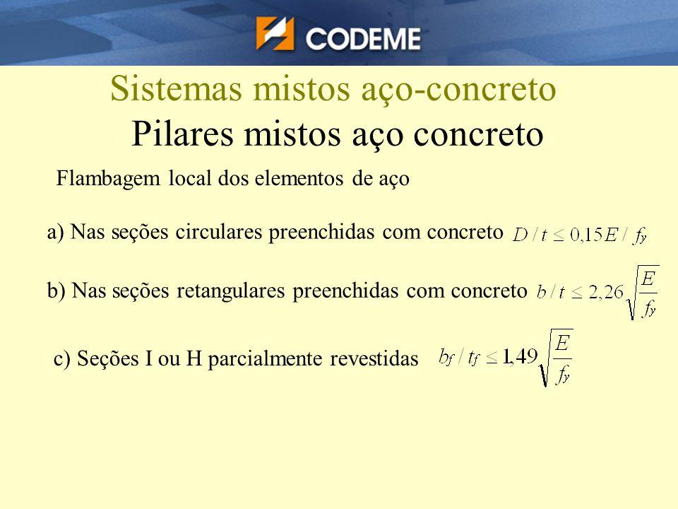 Sistemas mistos aço-concreto Pilares mistos aço concreto Flambagem local dos elementos de aço a) Nas seções circulares preenchidas com concreto b) Nas