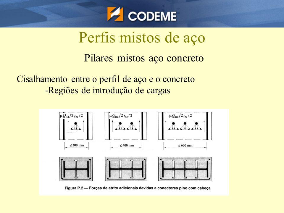 Perfis mistos de aço Pilares mistos aço concreto Cisalhamento entre o perfil de aço e o concreto -Regiões de introdução de cargas