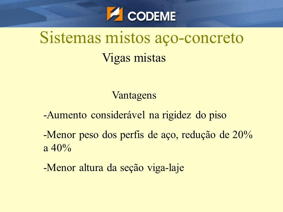 Sistemas mistos aço-concreto Vigas mistas Vantagens -Aumento considerável na rigidez do piso -Menor peso dos perfis de aço, redução de 20% a 40% -Meno