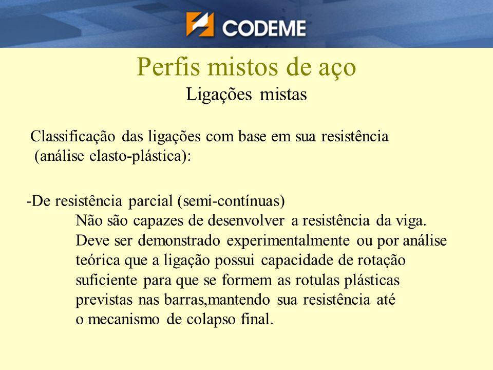 Perfis mistos de aço Ligações mistas Classificação das ligações com base em sua resistência (análise elasto-plástica): -De resistência parcial (semi-c