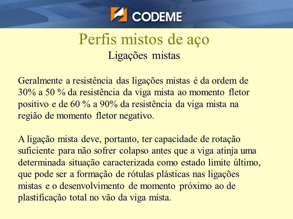 Perfis mistos de aço Ligações mistas Geralmente a resistência das ligações mistas é da ordem de 30% a 50 % da resistência da viga mista ao momento fle