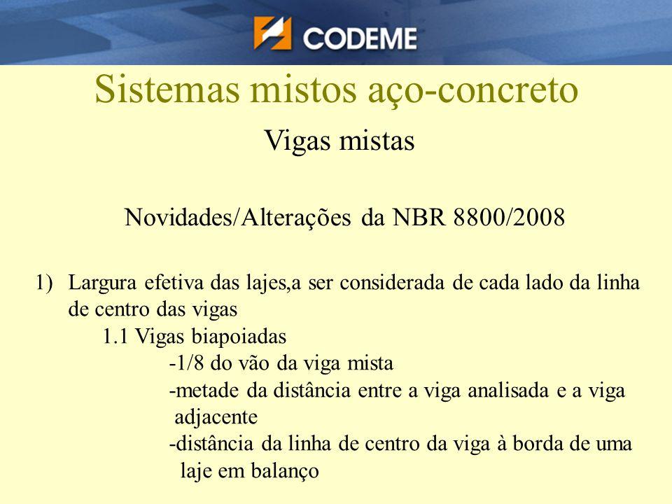 Sistemas mistos aço-concreto Vigas mistas Novidades/Alterações da NBR 8800/2008 1)Largura efetiva das lajes,a ser considerada de cada lado da linha de