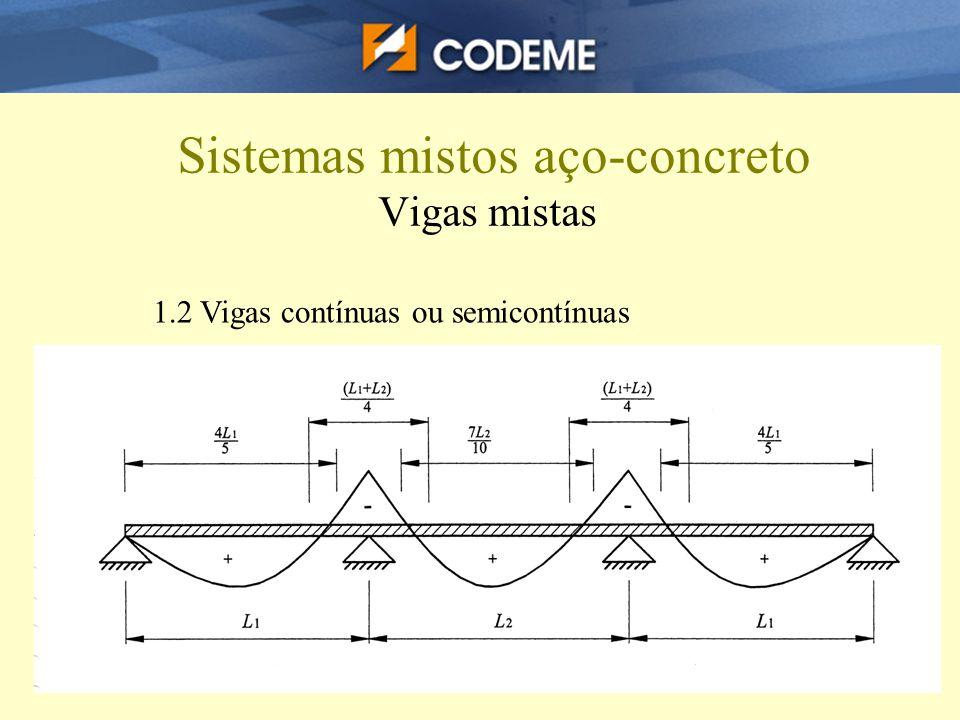 Sistemas mistos aço-concreto Vigas mistas 1.2 Vigas contínuas ou semicontínuas