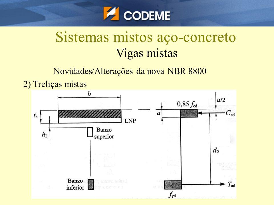 Sistemas mistos aço-concreto Vigas mistas 2) Treliças mistas Novidades/Alterações da nova NBR 8800