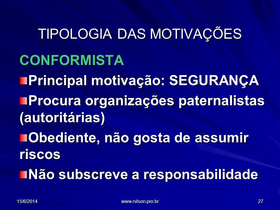TIPOLOGIA DAS MOTIVAÇÕES CONFORMISTA Principal motivação: SEGURANÇA Procura organizações paternalistas (autoritárias) Obediente, não gosta de assumir
