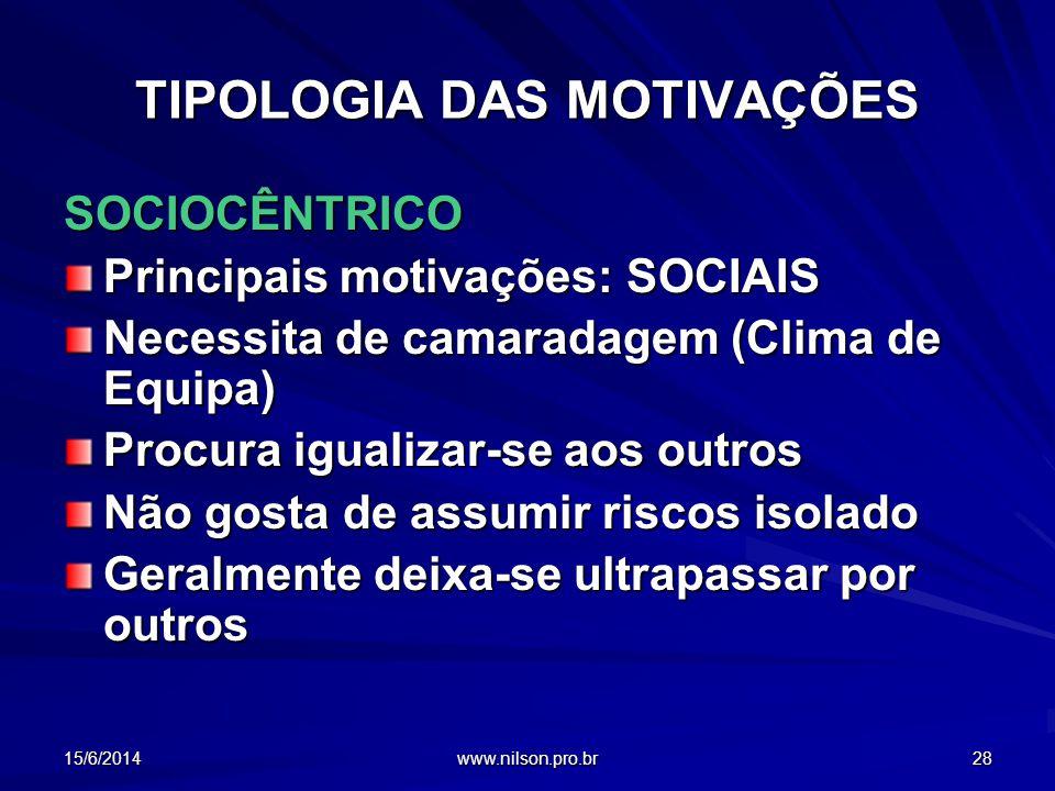 TIPOLOGIA DAS MOTIVAÇÕES SOCIOCÊNTRICO Principais motivações: SOCIAIS Necessita de camaradagem (Clima de Equipa) Procura igualizar-se aos outros Não g