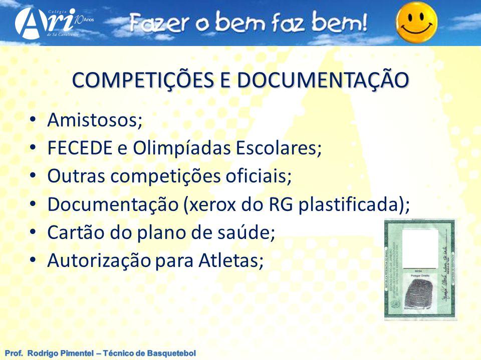 COMPETIÇÕES E DOCUMENTAÇÃO Amistosos; FECEDE e Olimpíadas Escolares; Outras competições oficiais; Documentação (xerox do RG plastificada); Cartão do p