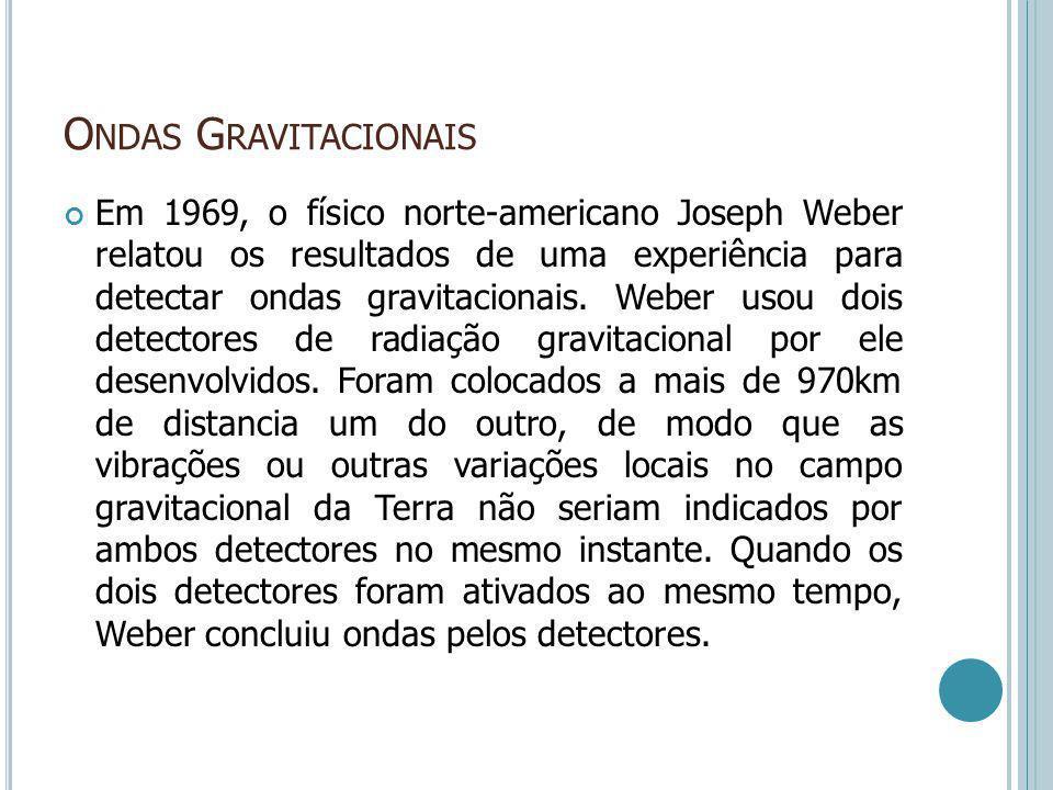 O NDAS G RAVITACIONAIS Em 1969, o físico norte-americano Joseph Weber relatou os resultados de uma experiência para detectar ondas gravitacionais. Web
