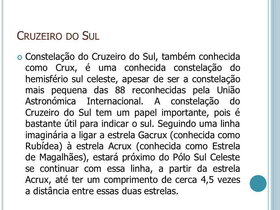 C RUZEIRO DO S UL Constelação do Cruzeiro do Sul, também conhecida como Crux, é uma conhecida constelação do hemisfério sul celeste, apesar de ser a c
